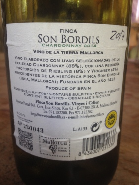 Son Bordils Chardonnay Back
